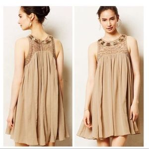 Anthropology Taupe Beaded Chiffon Dress